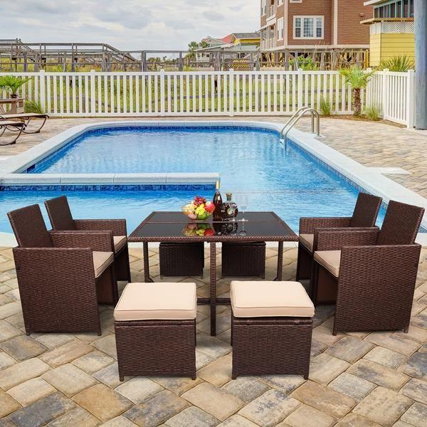 Salon de jardin - Ensemble de meubles de patio 9 pièces en osier rotatif PE grain de bois, avec table en verre trempé