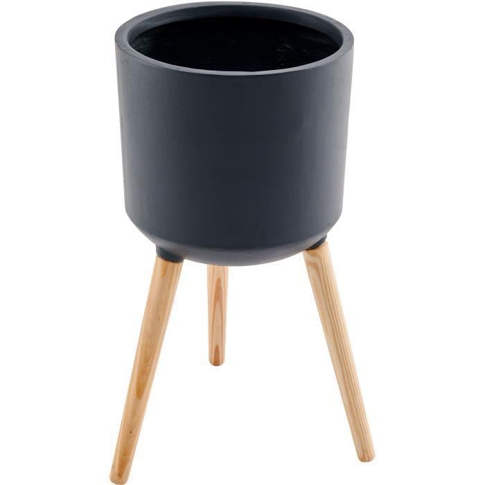 Pot de fibre de ciment avec MDF pieds en bois - 34 x 34 x 70 cm - Gris