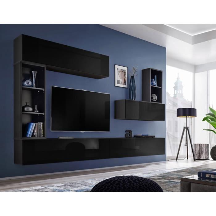 Meuble Tv Mural Design -blox I- 280cm Noir - Paris Prix