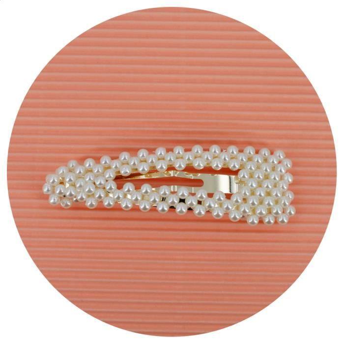 Grande barrette cheveux clip perles - pince cheveux perles 8.5cm - RC006264