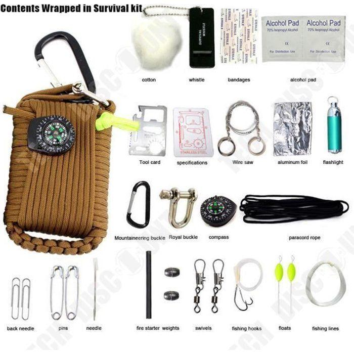 TD® Kit de premier soins Silex portable avec boussole amovible mini lampe de poche multifonction-Kit de survie - accessoire voyage