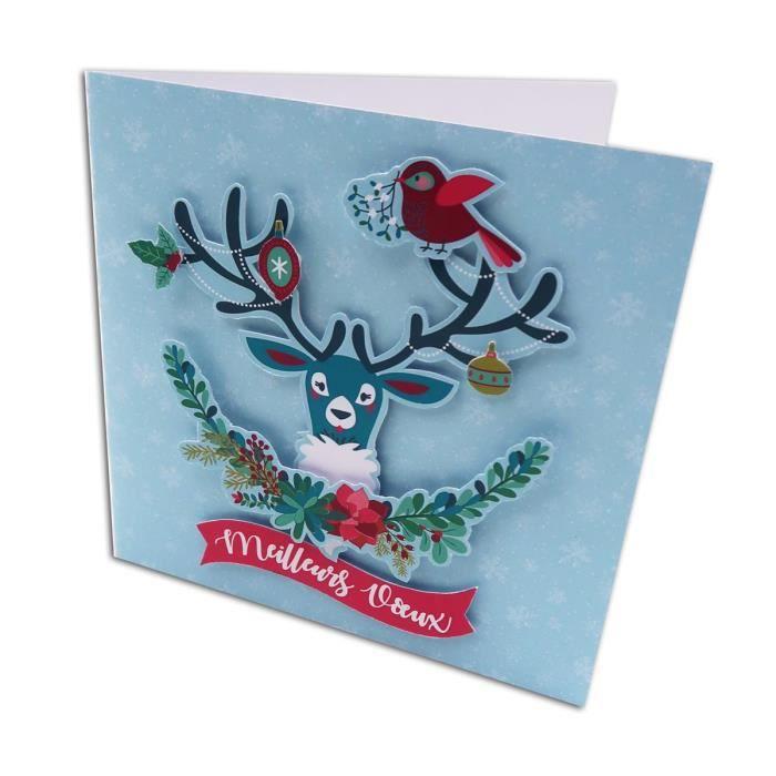 Kit de 10 Cartes de Voeux 13x13 cm à fabriquer Un Renne à Noël et 10 enveloppes Toga