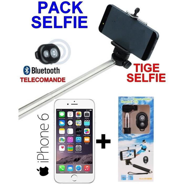 pack selfie apple iphone 6 argent debloque tige selfie. Black Bedroom Furniture Sets. Home Design Ideas