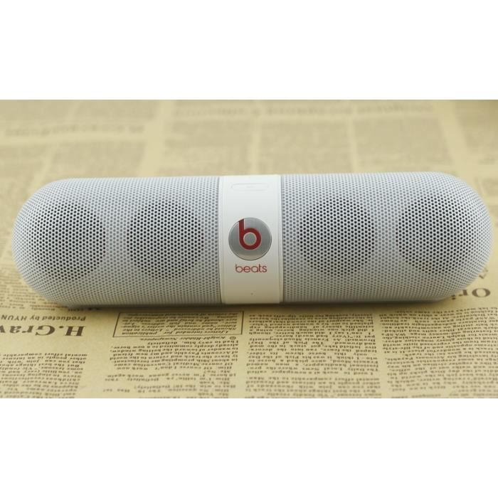 blanc beats pill 2 0 portable powerbank sans fil bluetooth speaker enceinte nomade avis et. Black Bedroom Furniture Sets. Home Design Ideas