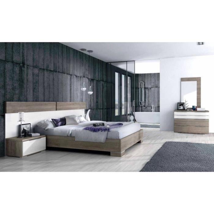 chambre coucher contemporaine 160 x 190 cm achat vente chambre compl te chambre coucher. Black Bedroom Furniture Sets. Home Design Ideas