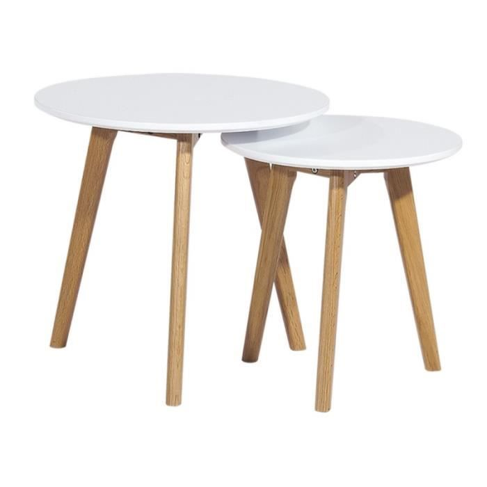 2 Tables Basses Gigognes Rondes Blanches 3 Pieds Chene Achat