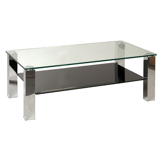 Table basse moderne en verre et chrome xina achat for Tables basses de salon en verre