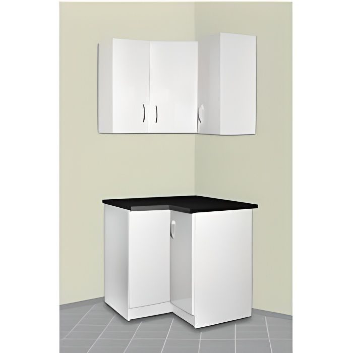 meuble cuisine d 39 angle haut et bas oxane blanc achat vente finition plinthe meuble cuisine. Black Bedroom Furniture Sets. Home Design Ideas