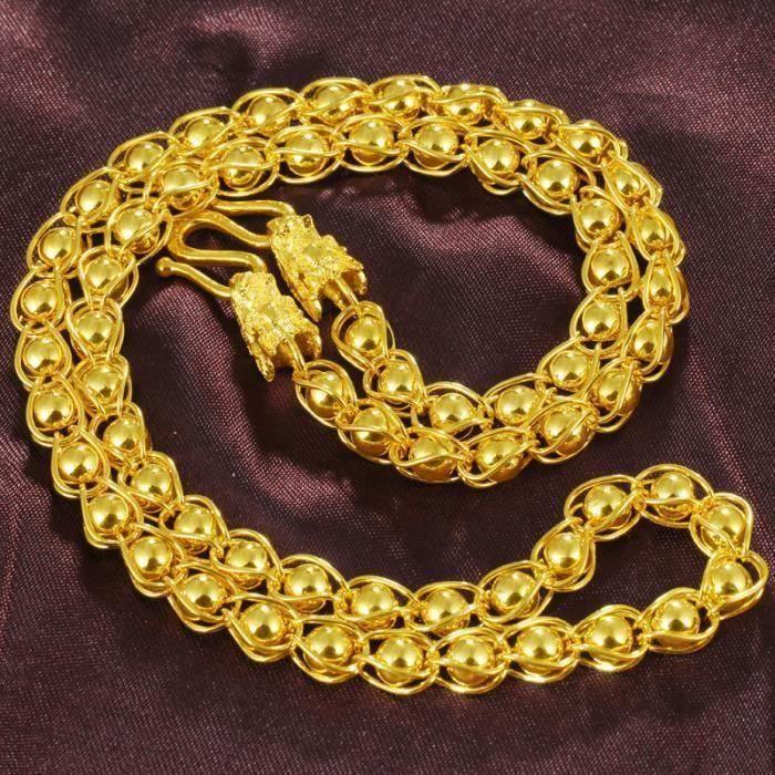 CHAINE DE COU SEULE or ligne contiennent des perles collier pour homme