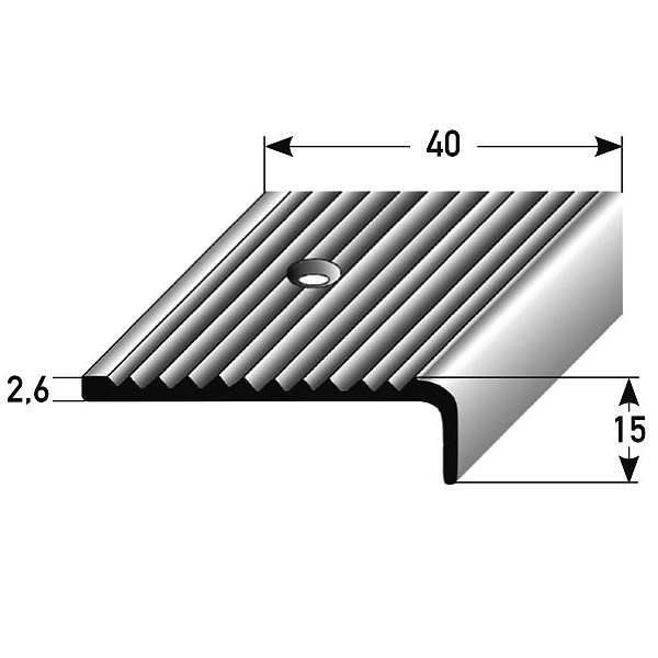5 mètres (5 x 1 m) Nez de marche - Cornière pour escaliers (40 mm x 15 mm), aluminium anodisé ...