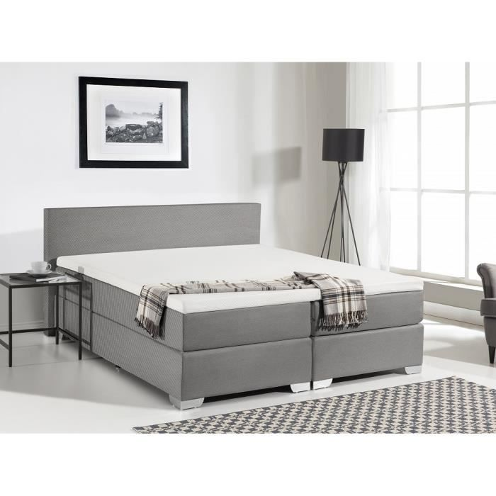 lit boxspring en tissu sommier et matelas ressorts gris fonc 160x200. Black Bedroom Furniture Sets. Home Design Ideas