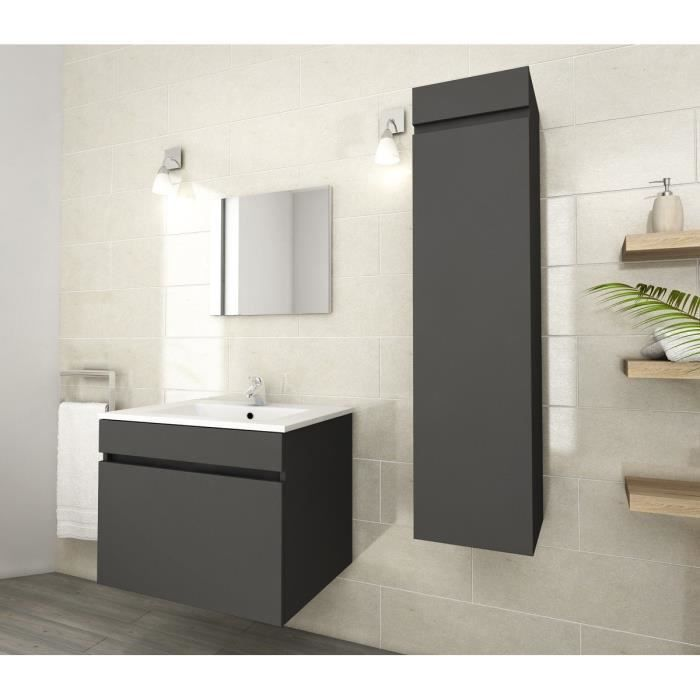 Luna ensemble de salle de bain simple vasque 60cm gris for Meuble salle de bain simple vasque 120 cm