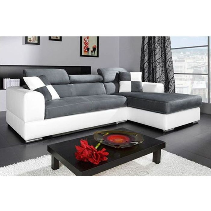 canap madrid i cuir pu microfibre angle droit achat. Black Bedroom Furniture Sets. Home Design Ideas