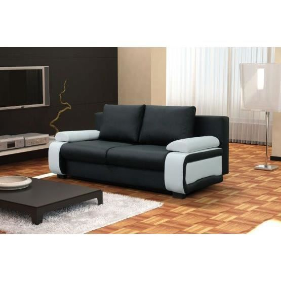 Canap design convertible billy noir blanc achat vente canap sofa di - Canape convertible design ...