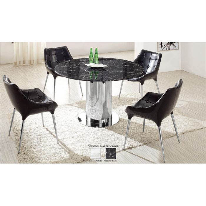 table de repas en marbre noir et chrome achat vente table a manger sans chaises table de. Black Bedroom Furniture Sets. Home Design Ideas