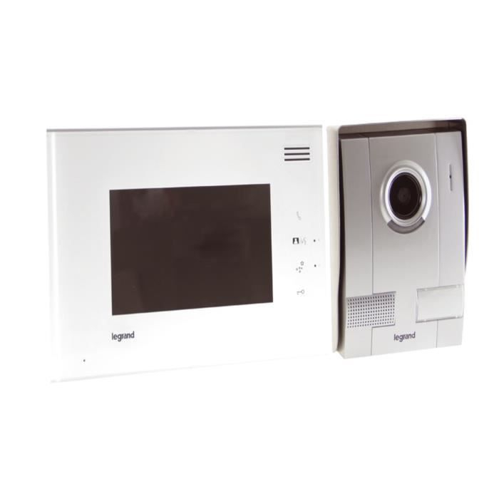 legrand interphone vid o cran 7 blanc avec 1 poste. Black Bedroom Furniture Sets. Home Design Ideas