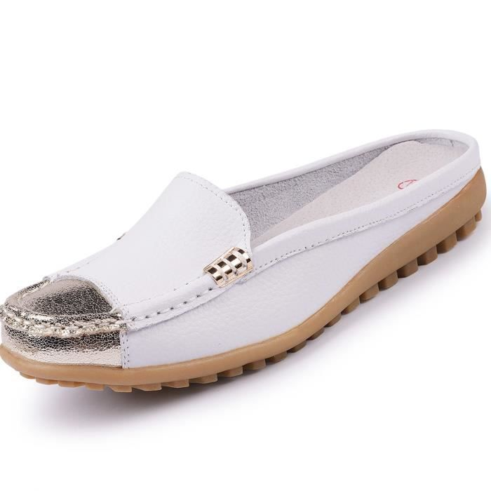 Girls' Slip On Backless Loafers Casual Leather Mule Shoes CIIT3 Taille-36 1-2