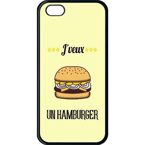 Coque smartphone - J VEUX UN HAMBURGER - compatible avec Apple iPhone 5c - Plastique - bord Noir