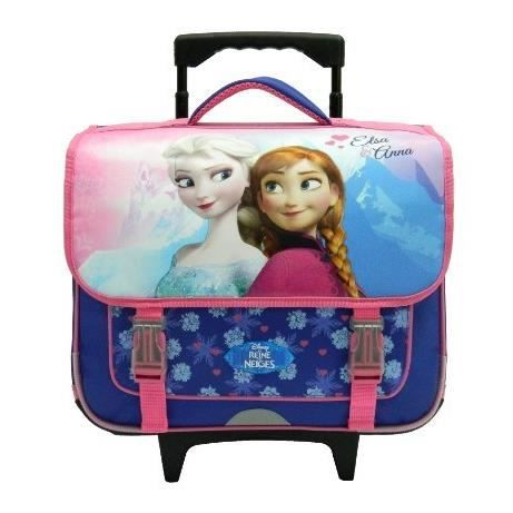 REINE DES NEIGES Cartable à Roulettes 2 compartiments  primaire Fille 38 cm rose/violet