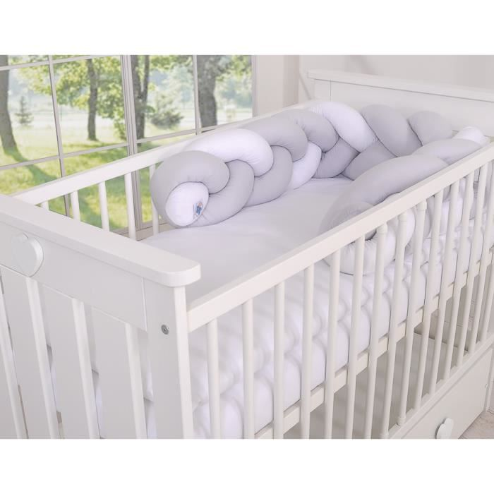 Tour de lit bébé Magic Loop blanc gris -