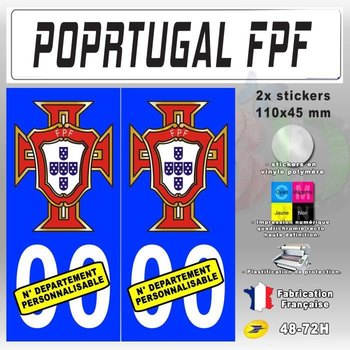 "4x Stickers Plaques D/'immatriculation Fond Noir /""FPF Portugal/"" 100x45 mm"