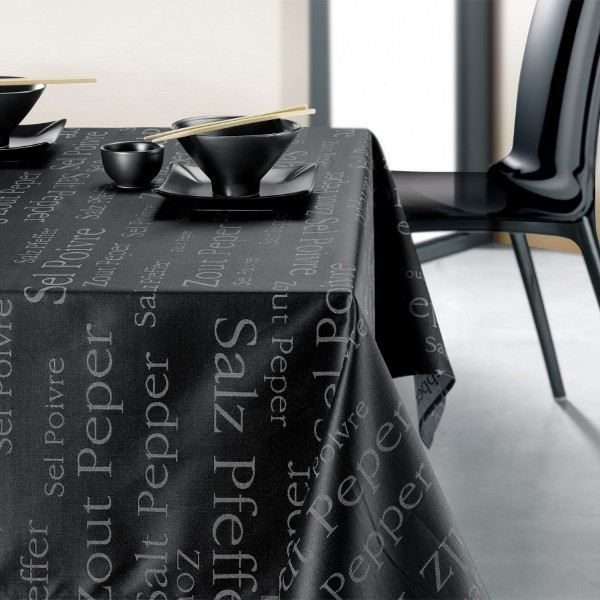 nappe rectangulaire noire sel poivre 250 x 150 achat vente nappe de table cdiscount. Black Bedroom Furniture Sets. Home Design Ideas