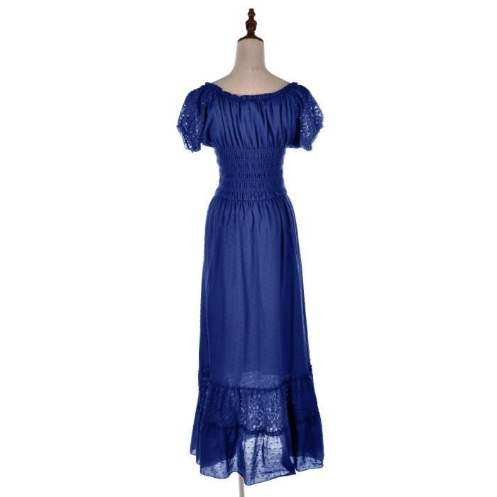 Womens Peasant Maiden Boho Inspired Cap Sleeve Lace Trim Dress 2EQ2R0 Taille-34