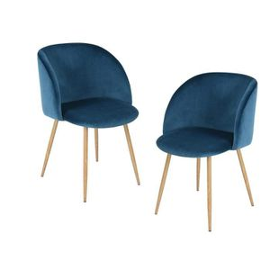 CHAISE YNEZ Lot de 2 chaises - Velours bleu - Style scand