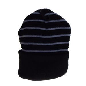 BONNET - CAGOULE 1 bonnet rayé doublé polaire noir et gris clair, m