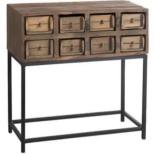 CONSOLE Console exotique 8 tiroirs en bois recyclé marron