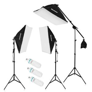 Andoer Photographie Studio Kit d/éclairage avec 2/x Softbox 2/x 4/en 1/Douille dampoule 8/x 45/W ampoules de lumi/ère du jour 2/x Sac de transport pour support d/éclairage prise britannique