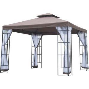 ABRI JARDIN - CHALET Tonnelle barnum style colonial double toit toile m