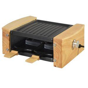 APPAREIL À RACLETTE Raclette 4 poêlons 650W finition bois - Noir H12,2