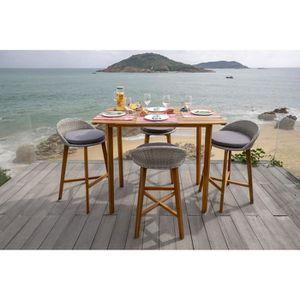 SALON DE JARDIN  Ensemble repas de jardin type bar - table 135x80cm