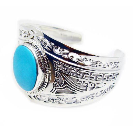 bracelet argent et turquoise