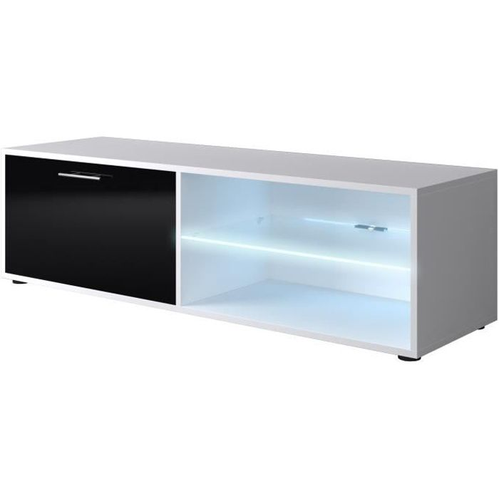 Kora meuble tv led contemporain blanc et noir brillant l 118 cm