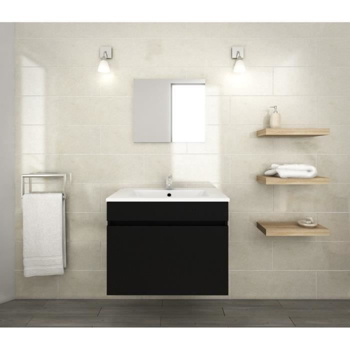 luna ensemble de meubles de salle de bain vasque miroir meuble sous vasque l 60 cm noir. Black Bedroom Furniture Sets. Home Design Ideas