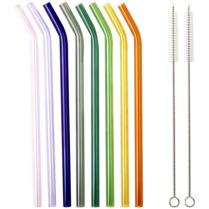 LA VAGUE SMOOTHIE PARTY Ensemble de 8 pailles en verre courbées réutilisables multicolores