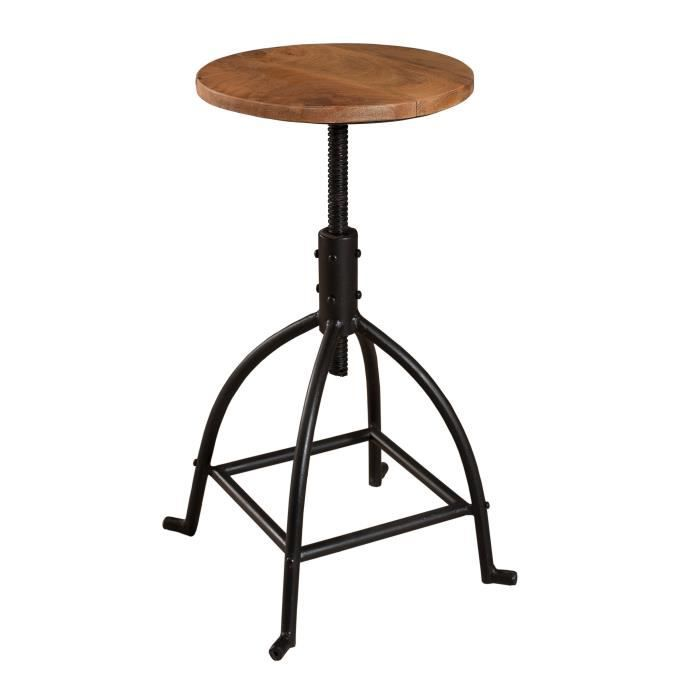 Oxford tabouret de bar industriel en m tal et manguier - Tabouret de bar cdiscount ...