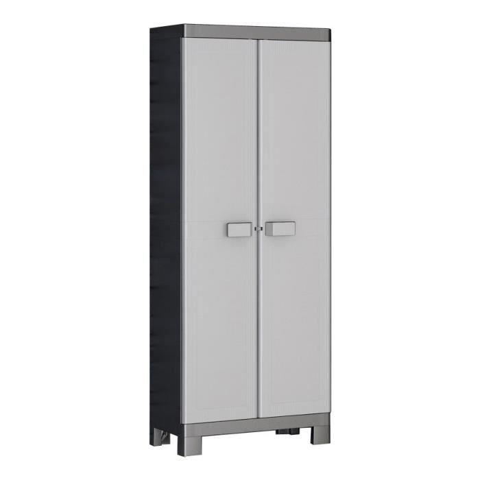 KIS Armoire de rangement Multispace Logico - 65 x 45 x 182 cm - Noir et gris