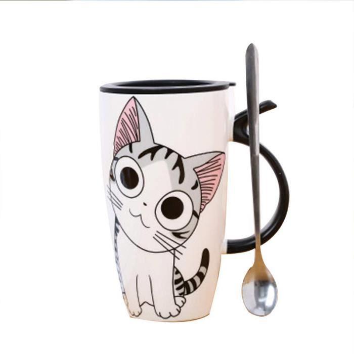 Chat personnalisé Mignon Mugs à café Noir et Blanc Motif Animal Tasses d'eau en céramique Tasse à café avec
