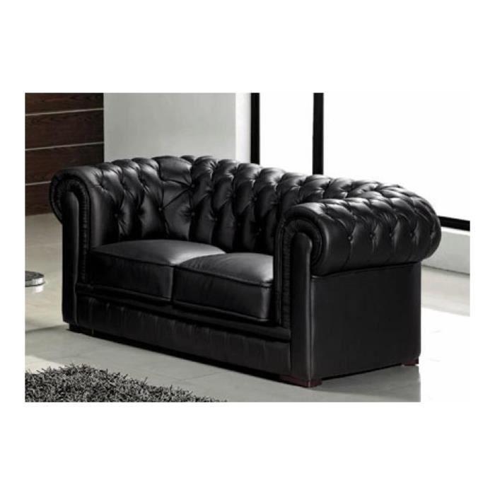 Canapé capitonné 2 places en cuir noir CHESTERFIELD