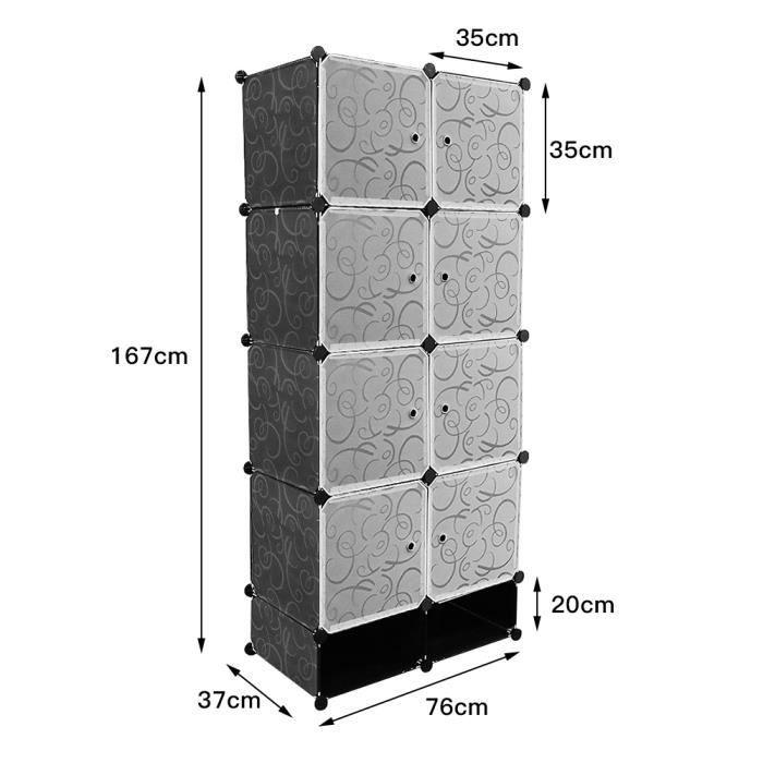 Armoire Penderie Portable Étagère de Rangement Cubes de Stockage Modulaire - Vêtements - Accessoires - 10 cubes - noir- Meerveil