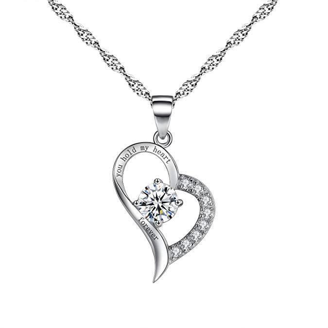 Collier avec Pendentif Femme avec Cristal Swarovski Elements Coeur - Argent 925/1000 - Blanc