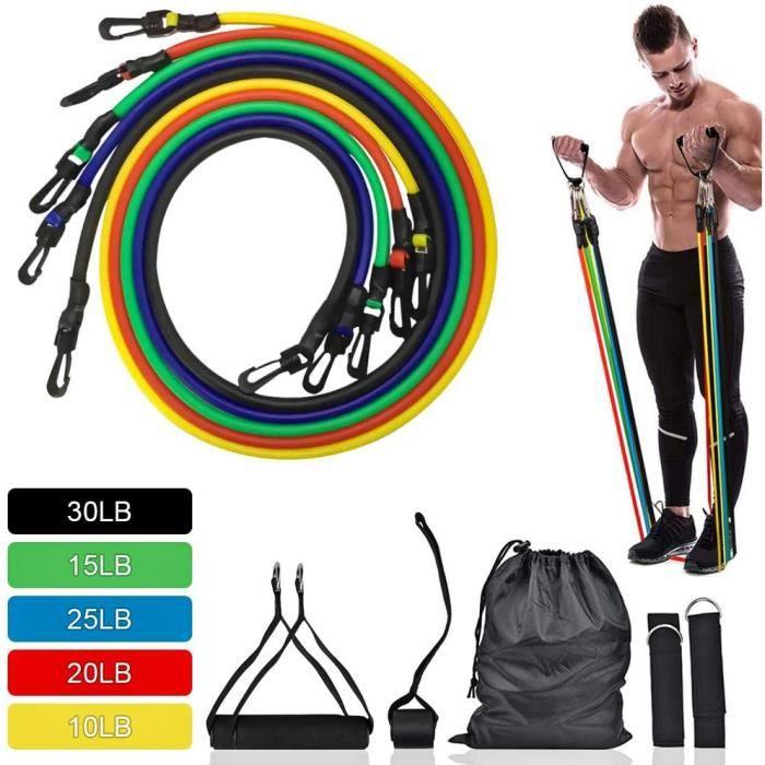 Bandes Elastiques Musculation Bandes de Fitness Kit Bande de Résistance Set, Fitness Elastiques Kit, pour Musculation 11PCS