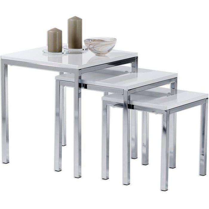 Lot de 3 tables gigognes LUNA, design moderne chromé/laqué blanc