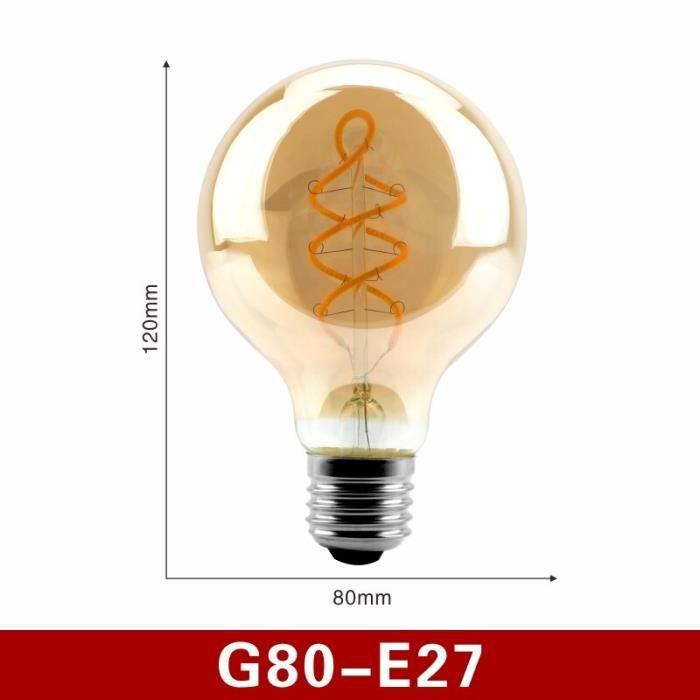Ampoule LED à filament spiral E14 E27, lampe rétro, lumière jaune 220V C35 A60 T45 ST64 T185 T225 G80 G95 G125, Edison, [6C90AD7]