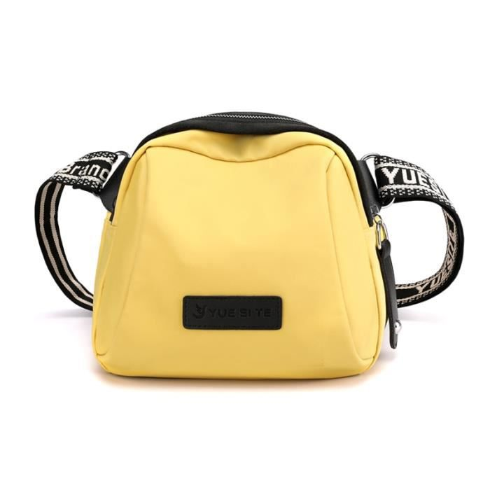 jaune clair -Sacs à bandoulière simples pour femmes, petits sacoches de styliste en Nylon à fermeture éclair, fourre tout de shoppin