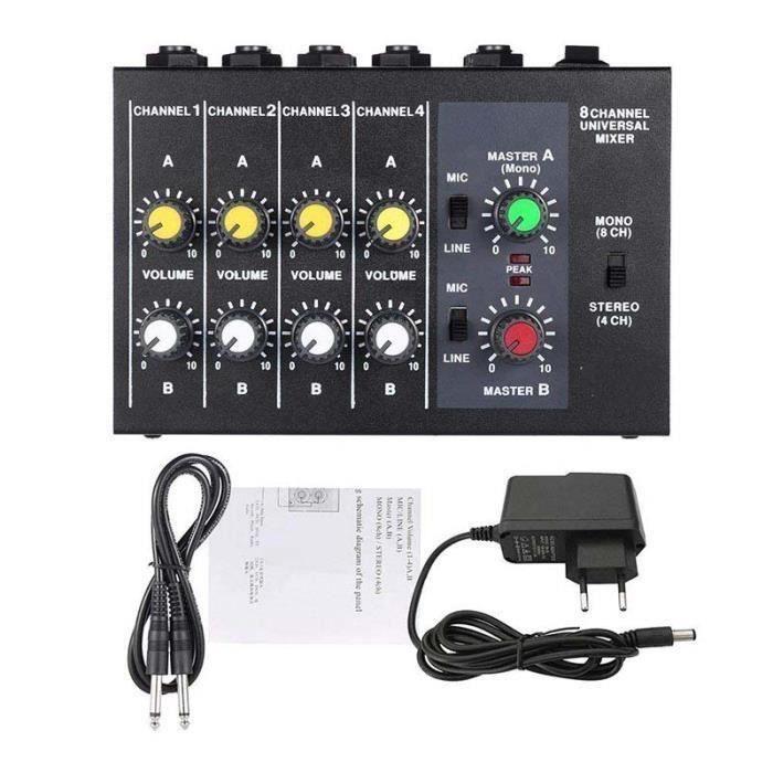 Mixeur Ultra Compact à Faible Bruit 8 Canaux Métal Mono Mixeur Audio Avec Câble Adaptateur Secteur WYK03811