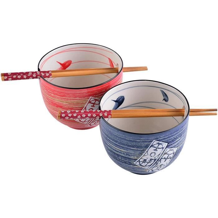 Panbado, Bols à Ramen Japonais Asiatique en Porcelaine, 2 Pièces avec 2 Paires de Baguettes, 470ml- BONHEUR